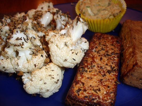 Italian tofu with uncheese bread and Panko n herb Cauliflower.
